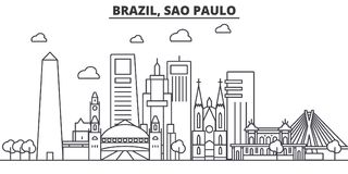 Brazil, Sao Paulo architecture line skyline illustration. Linear vector cityscape with famous landmarks, city sights royalty free illustration