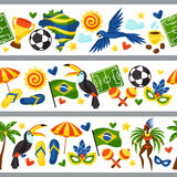 Brazil seamless borders with stylized objects and. Cultural symbols Royalty Free Stock Image