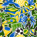 Brazil seamless pattern with sticker objects and Royalty Free Stock Image