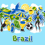 Brazil seamless pattern with sticker objects and Royalty Free Stock Photo