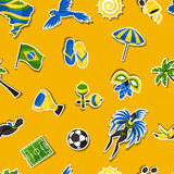 Brazil seamless pattern with sticker objects and. Cultural symbols Royalty Free Stock Images