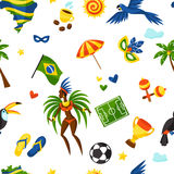 Brazil seamless pattern with stylized objects and Royalty Free Stock Image