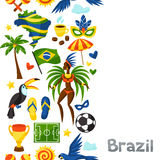 Brazil seamless pattern with stylized objects and. Cultural symbols Royalty Free Stock Photography