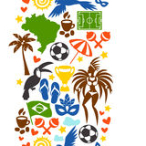 Brazil seamless pattern with stylized objects and. Cultural symbols Royalty Free Stock Images