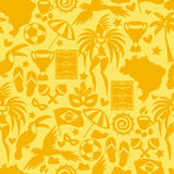 Brazil seamless pattern with stylized objects and Royalty Free Stock Photos