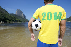 Brazil 2014 Shirt Soccer Football Player Rio Beach Royalty Free Stock Images
