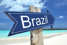 Brazil sign. On the beach Royalty Free Stock Photography
