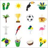brazil Sistema de iconos planos de la historieta Foto de archivo libre de regalías