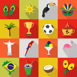 brazil Sistema de iconos planos de la historieta Fotos de archivo libres de regalías