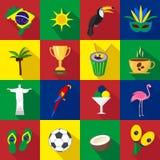 brazil Sistema de iconos planos de la historieta ilustración del vector