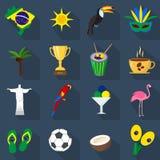 brazil Sistema de iconos planos de la historieta Imágenes de archivo libres de regalías