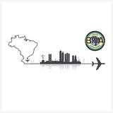 Brazil Skyline Buildings Silhouette Background Stock Photo