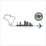 Brazil Skyline Buildings Silhouette Background Stock Photo