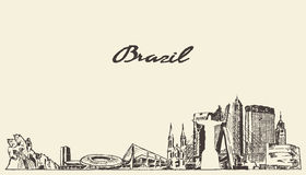 Brazil skyline vector illustration drawn sketch Stock Image