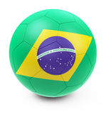 Brazil soccer ball. 3d generated picture of a brazilian soccer ball Royalty Free Stock Photography