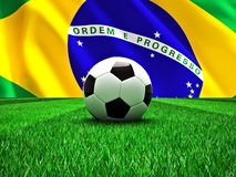 Brazil soccer ball. 3d image of soccer ball and brazilian flag Stock Images