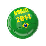 Brazil soccer ball. 3d image on white Royalty Free Stock Images