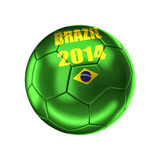 Brazil soccer ball. 3d image on white Stock Photography