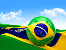 Brazil soccer ball. 3d image on white Stock Image