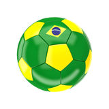 Brazil soccer ball. 3d image on white Royalty Free Stock Photo