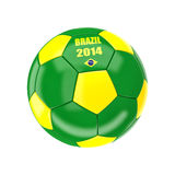 Brazil soccer ball. 3d image on white Royalty Free Stock Image