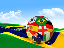 Brazil soccer ball. 3d image on white Stock Images