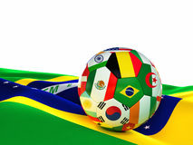 Brazil soccer ball. 3d image on white Stock Photos