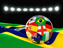 Brazil soccer ball. 3d image on white Royalty Free Stock Photography