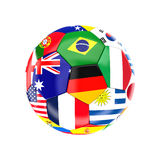 Brazil soccer ball. Different country soccer ball 3d image on white Royalty Free Stock Image