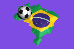 Brazil 2014. A soccer ball on the flag of Brazil super embossed on to the map for 2014 soccer world cup Stock Images