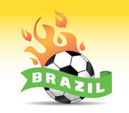 Brazil soccer. Ball with flames Stock Photo