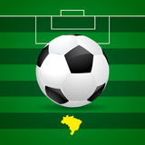 Brazil soccer ball on green background Stock Images