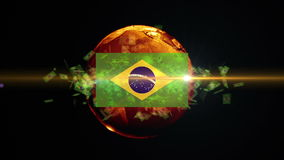 Brazil soccer ball turns into the world stock video
