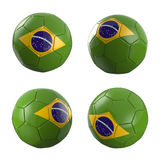 Brazil 2014 soccer ball World Cup. Brazil flag soccer ball 3D Royalty Free Stock Image