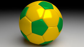 Brazil soccer ball with yellow and green areas Royalty Free Stock Photos