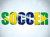 Brazil 2014 Soccer with Brazilian Flag Royalty Free Stock Image