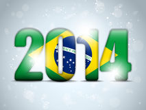 Brazil 2014 Soccer with Brazilian Flag Royalty Free Stock Photo
