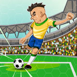 BRAZIL SOCCER. Brazilian Soccer Player Take A Penalty Kick In Front Of Goalkeeper Area Stock Photo