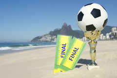 Brazil Soccer Champion Trophy Final Tickets Rio Beach Stock Images