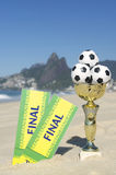Brazil Soccer Champion Trophy Final Tickets Rio Beach Royalty Free Stock Photos