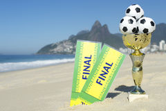 Brazil Soccer Champion Trophy Final Tickets Rio Beach Royalty Free Stock Photo