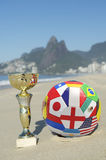 Brazil Soccer Champion Trophy Football Rio Beach Royalty Free Stock Photography