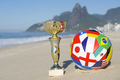 Brazil Soccer Champion Trophy Football Rio Beach Stock Photos