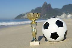 Brazil Soccer Champion Trophy Football Rio Beach Royalty Free Stock Photos
