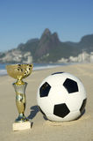 Brazil Soccer Champion Trophy Football Rio Beach Royalty Free Stock Photo