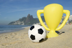 Brazil Soccer Champion Trophy Football Rio Beach Royalty Free Stock Image