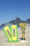 Brazil Soccer Champion Trophy Football Rio Beach Stock Image
