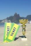 Brazil Soccer Champion Trophy Tickets Rio Beach Stock Photos