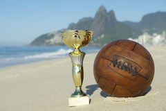 Brazil Soccer Champion Trophy Vintage Football Rio Beach Royalty Free Stock Image