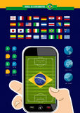 Brazil soccer championship app phone infographic. Brazil soccer championship mobile phone infographic with world map and icons elements blue background. EPS10 Stock Photography